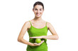Healthy woman with a green apple
