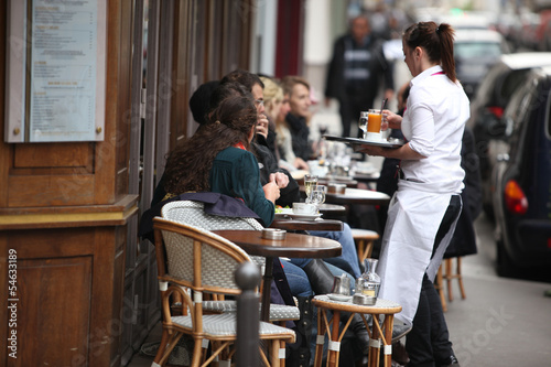 Parisians and tourist enjoy eat and drinks