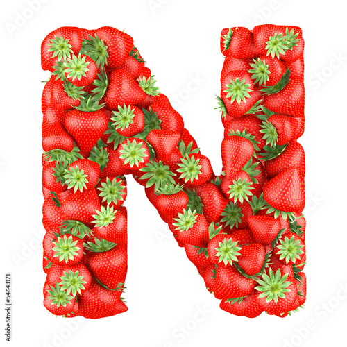 Letter - N made of Strawberry. Isolated on a white.