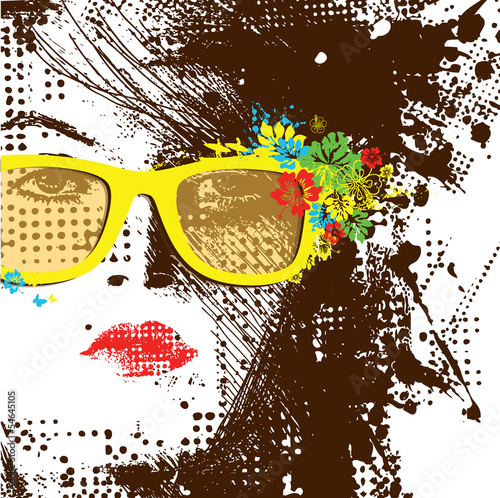 Wall Murals Woman face Women in sunglasses