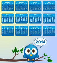 2014 Calendar With Funny Blue ...