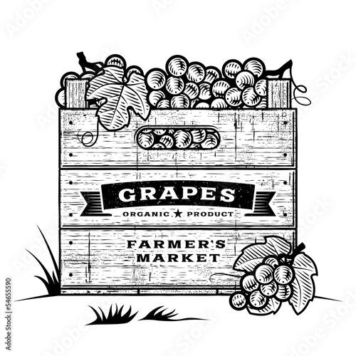 Retro crate of grapes black and white Fototapete