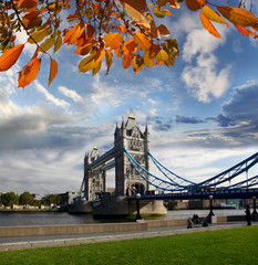Tower Bridge during autumn in London, UK