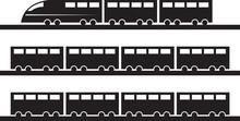 Modern Train On Tracks Silhoue...