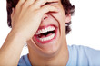 canvas print picture - Laughing guy closeup