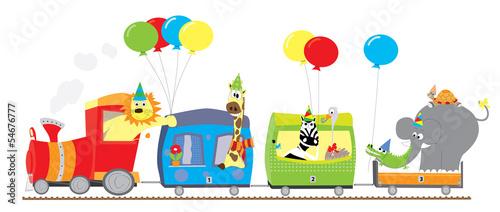pociag-ze-zwierzetami-i-balonami-na-bialym-tle