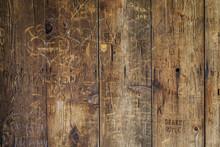 Vandal Graffiti On Wood Wall
