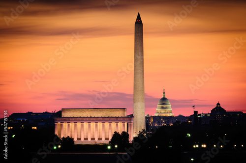 Fotografie, Obraz  Washington DC skyline