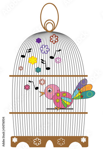 Acrylic Prints Birds in cages Birdcage with bird.