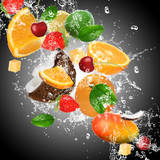 Fruit with splashing water