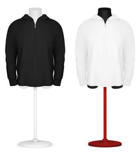 Plain Long Sleeve Hooded Jacket On Mannequin Torso Template.