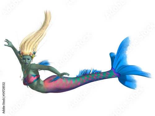 Tuinposter Zeemeermin Mermaid on White