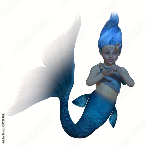 Foto op Canvas Zeemeermin Turquoise Mermaid Baby on White