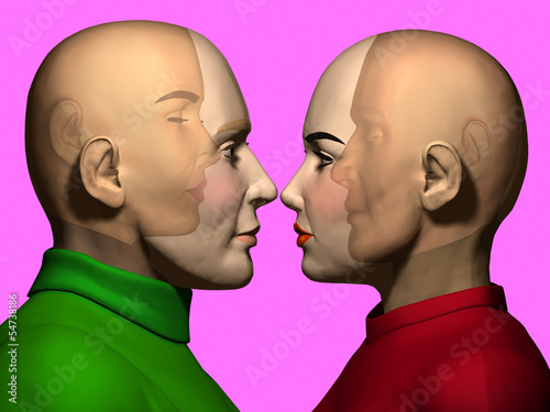 Fotografia  man and woman see themselves in the opposite person