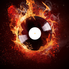Obraz burning vinyl disc