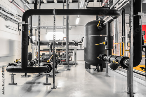 Tuinposter Industrial geb. industrial chiller insulated pipes and vessel