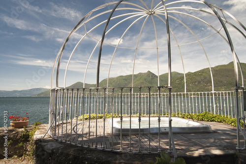 Wall Murals Amusement Park Jacuzzi with lake view