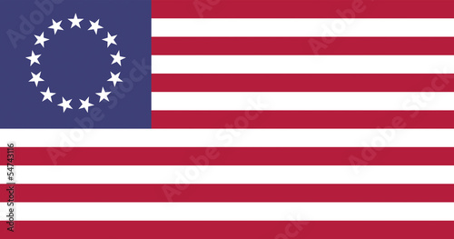 Foto USA Betsy Ross Flat Flag, official colors & aspect ratio