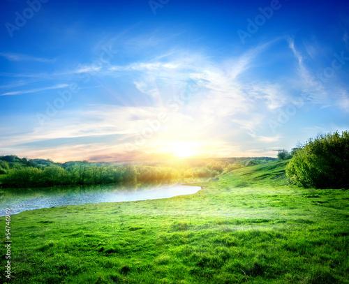 Foto auf Gartenposter Fluss Landscape with lake