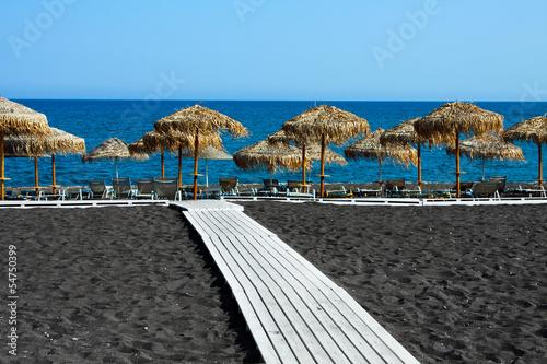 Fototapeta Black beach of Santorini, Greece obraz