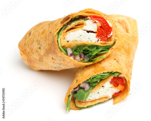 Wrap Sandwich with Feta Cheese & Peppers Wallpaper Mural