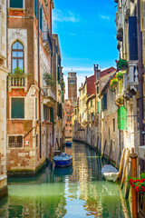 Fototapeta na wymiar Venice cityscape, water canal, church and buildings. Italy