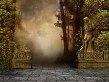Ogród Z Kamiennym Murem I Pos...