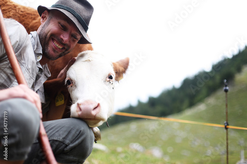 Fotografie, Obraz  Hirte mit Kühen