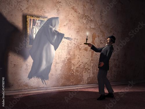Fotografia  Hombre encontrándose con un fantasma