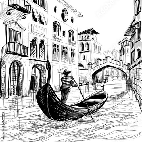 Fotografie, Obraz  Gondola in Venice vector sketch