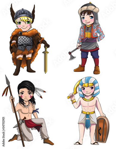 Ingelijste posters Ridders Warriors from various culture set 2