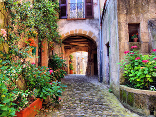 Fototapeta na wymiar Arched cobblestone street in a Tuscan village, Italy