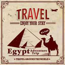 Vintage Travel Egypt Vacation Poster