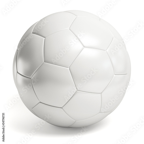Leather white football. Soccer ball isolated Wall mural