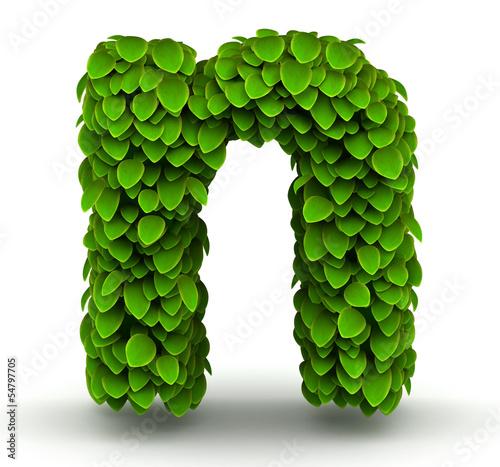 Valokuva  Leaves font letter n lowercase