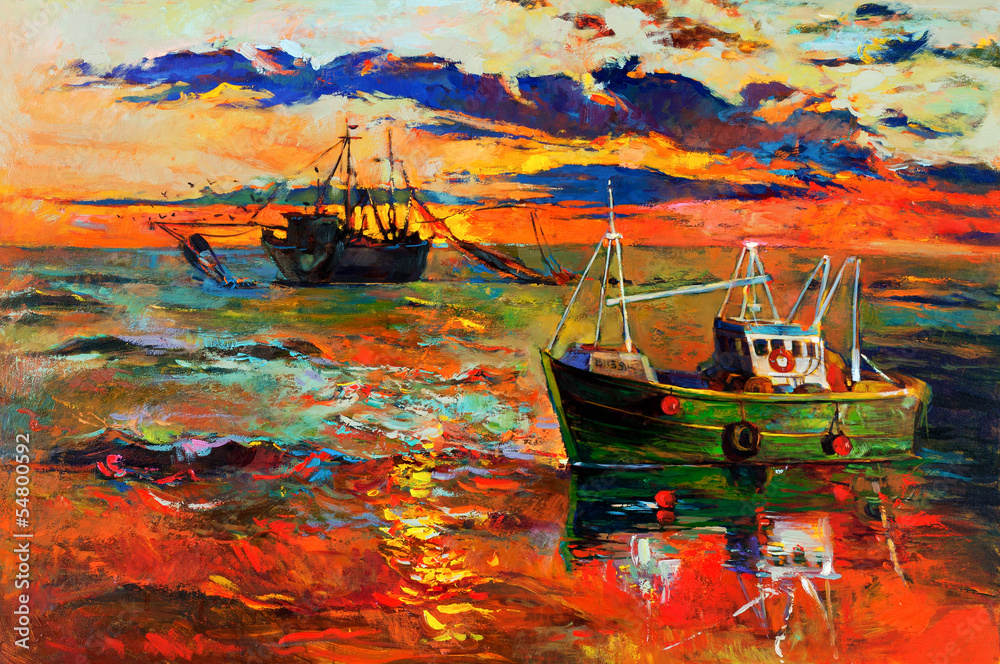 Fototapeta Fishing ships