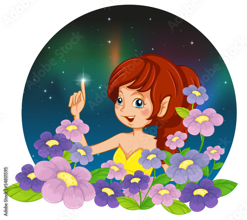 La pose en embrasure Fées, elfes A girl and the flowers