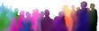 canvas print picture - zuschauer silhouetten bunt