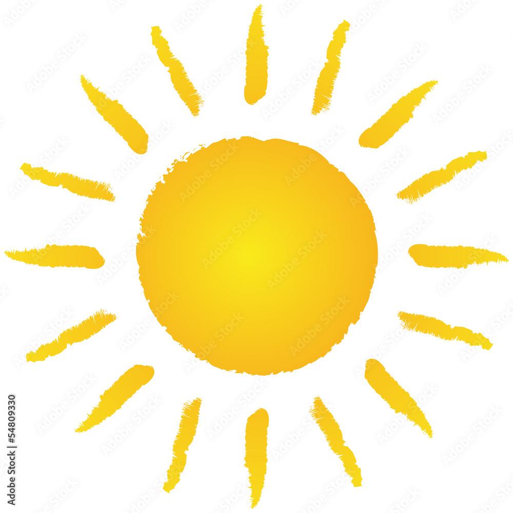 Fototapety, obrazy: Locker handgezeichnete, strahlende Sonne – Vektor/freigestellt