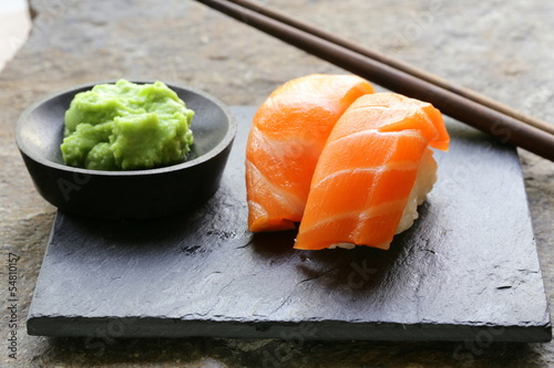 sushi with salmon - traditional Japanese food Wallpaper Mural
