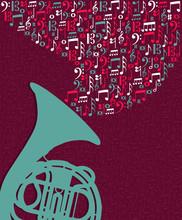 Music Notes Splash Tuba Illust...
