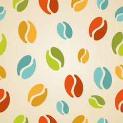 Fototapeta Colorful coffee beans seamless pattern illustration
