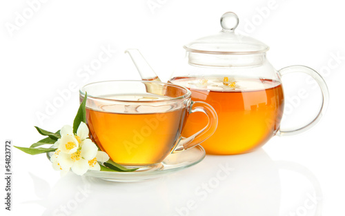 Cup of tea with jasmine, isolated on white - 54823772