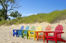 Row Of Colorful Beach Chairs