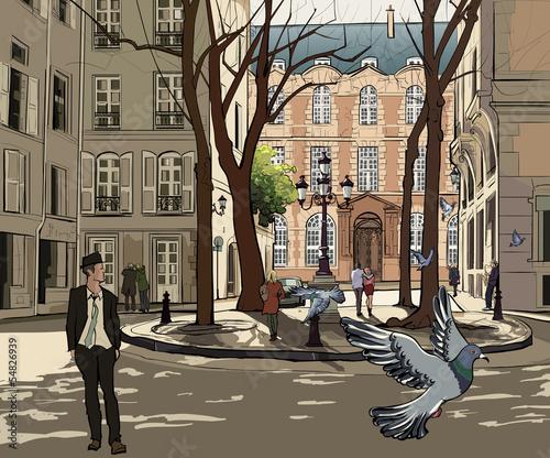 Recess Fitting Illustration Paris Furstemberg square in paris