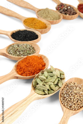Foto op Canvas Kruiden 2 Assortment of spices in wooden spoons, isolated on white