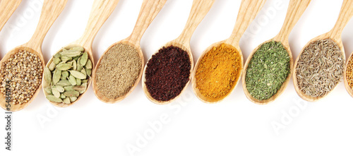Printed kitchen splashbacks Herbs 2 Assortment of spices in wooden spoons, isolated on white