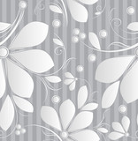 Floral silver seamless wallpaper