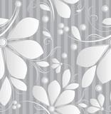 Floral silver seamless wallpaper