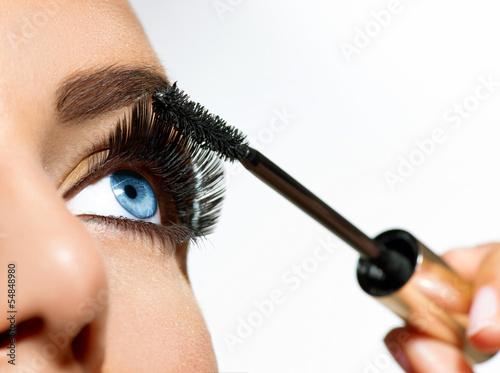 Poster - Mascara Applying. Long Lashes closeup